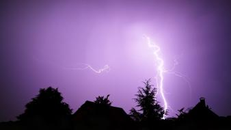 Landscapes nature elements lilac lightning sky wallpaper