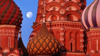 Landscapes nature russia moscow cathedral basil wallpaper