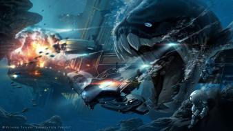 Monsters deep sea science fiction artwork underwater Wallpaper