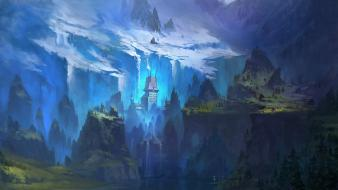 Mountains castles cliffs fantasy art wallpaper