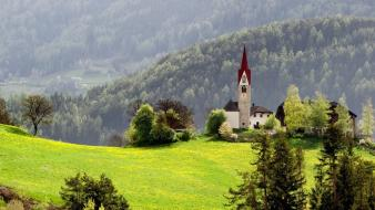 Mountains landscapes nature wood meadow chapel wallpaper
