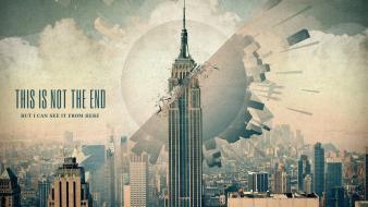New york city skyscrapers apocalyptic michael schmid wallpaper