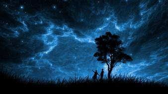 Night stars grass silhouette moonlight people skies wallpaper
