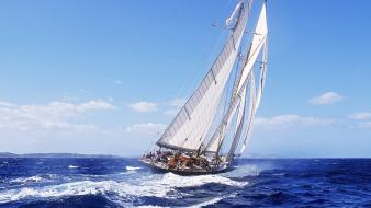Ocean boats sailing ships sea wallpaper