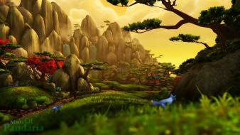 Panda bears bokeh asia mists pandaria game Wallpaper