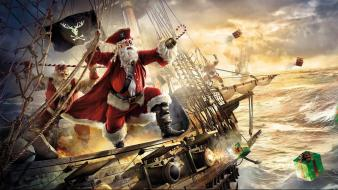 Pirate ship storm santa claus gifts sea wallpaper