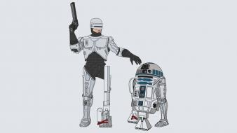 Star wars minimalistic r2d2 robocop artwork Wallpaper