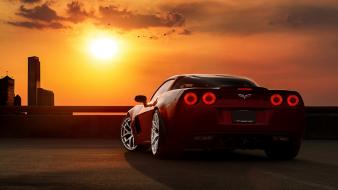 Sunset cars red chevrolet corvette z06 taillights Wallpaper