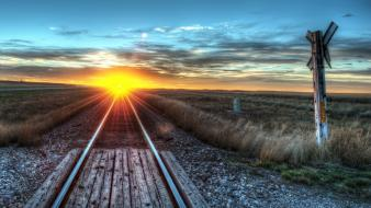 Sunset sun railroads wallpaper