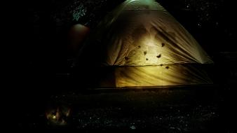 Tents camping moths gnomes children tent lantern Wallpaper