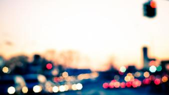 Urban traffic lights bokeh wallpaper