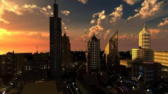 Video games clouds cityscapes buildings minecraft cities wallpaper