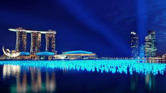 Water lights singapore hotels nights wallpaper