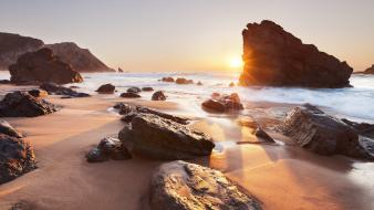 Waves rocks portugal sunlight hdr photography sea Wallpaper