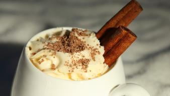 White food mug cream cinnamon dessert Wallpaper
