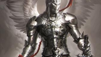 Wings knights fantasy art armor artwork angel wallpaper