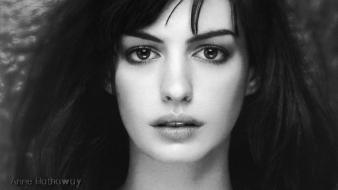 Anne hathaway actress monochrome faces factor portraits wallpaper