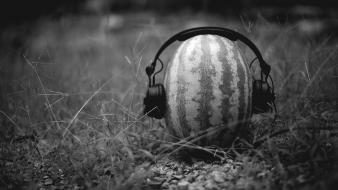 Black and white music watermelons fun Wallpaper