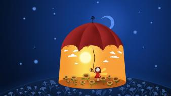 Blue red night yellow day cartoonish umbrellas wallpaper