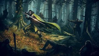 Bow (weapon) boromir warrior gondor fallen leaves wallpaper