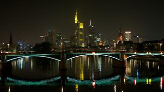 Bridges city skyline frankfurt am main wallpaper