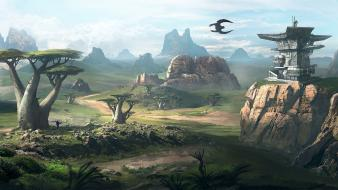 Buildings fantasy art concept environment vegetation skies wallpaper