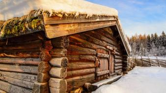 Cabin house cottage snowy rest sky lovely wallpaper
