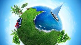 Cars planets grass earth oceans artwork yachts wallpaper