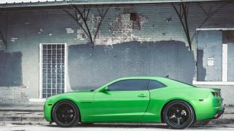 Chevrolet camaro profile vossen green wheels rims wallpaper