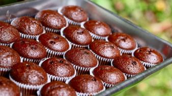 Chocolate food bokeh muffins cakes Wallpaper