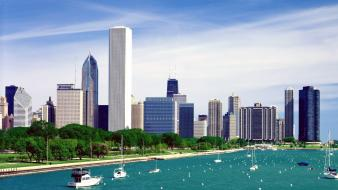 Cityscapes chicago lake michigan illinois cities skyline wallpaper