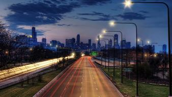 Clouds chicago lights cars roads cities nights wallpaper