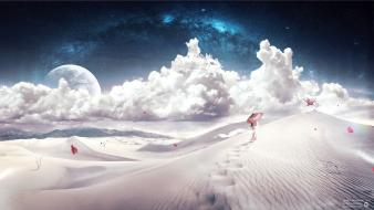 Clouds landscapes digital art desktopography time Wallpaper