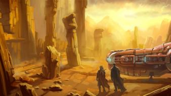 Desert spaceships digital art science fiction artwork wallpaper