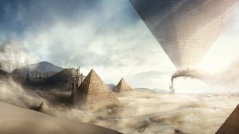 Egypt fantasy art digital pyramids Wallpaper