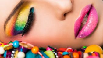 Eyes lips beads faces wallpaper