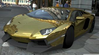 Gold chrome gran turismo lamborghini aventador Wallpaper