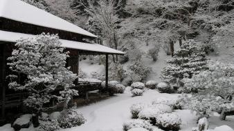 Japan snow garden asia wallpaper