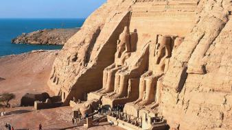 Landscapes egypt statues abu simbel wallpaper
