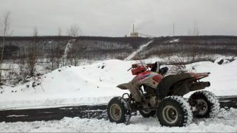 Landscapes snow honda quad bike four-wheeler wallpaper