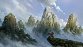 Mountains clouds fantasy art winds skies wallpaper