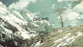 Mountains landscapes snow typography motivational wallpaper