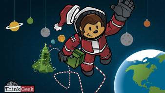 Outer space astronauts christmas monkeys thinkgeek Wallpaper