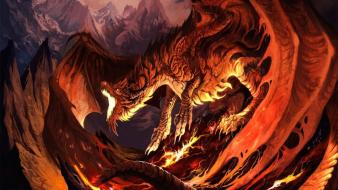 Paintings mountains red dragons volcanoes fantasy art wallpaper