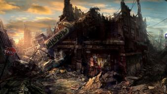 Ruins post-apocalyptic cities wallpaper