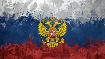 Russia russian federation flags eagles emblems Wallpaper
