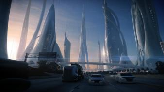 Science fiction artwork andree wallin cities curvy wallpaper