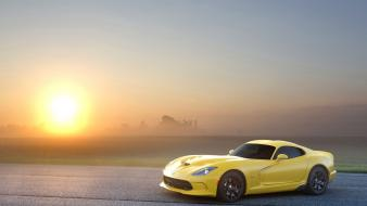 Sunset cars dodge sunlight supercars viper gts skies wallpaper