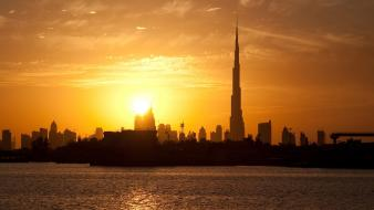 Sunset cityscapes buildings dubai cities burj khalifa wallpaper