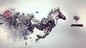 Surreal zebras desktopography creative wallpaper